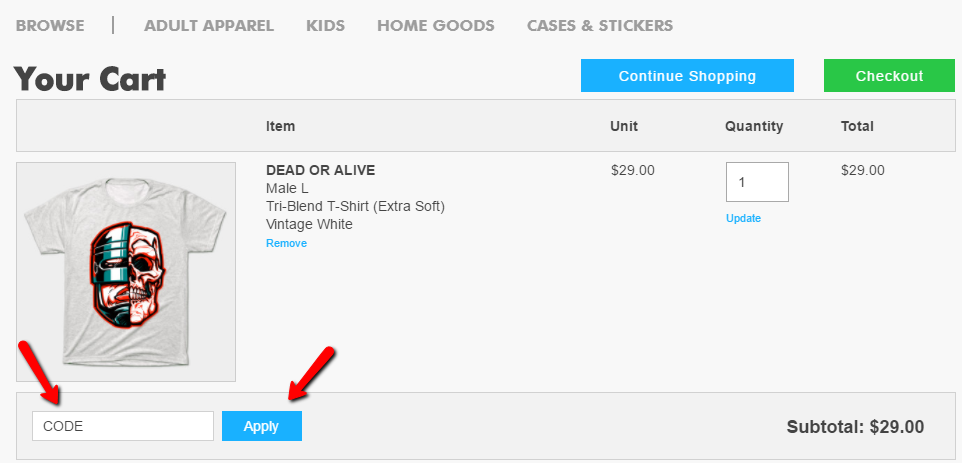 how to apply teepublic coupon