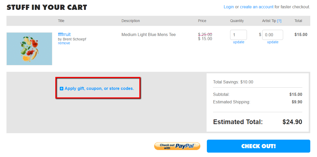 how to use a threadless coupon code