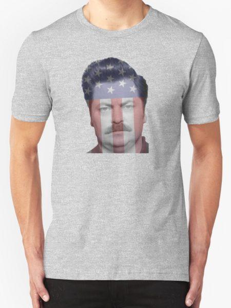 Ron Swanson American Flag T-Shirt