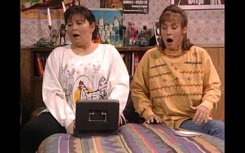 Roseanne wearing her chicken shirt